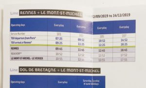 レンヌからモンサンミッシェルのバス時刻表